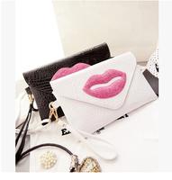 2014 new fashion punk lips bag day clutch women's cross-body handbag designers brand ladies evening bags