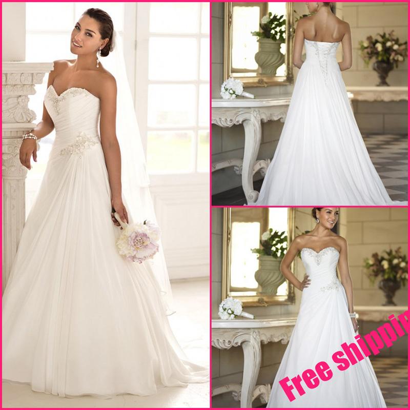 spedizione gratuita in magazzino fidanzata chiffon treno sweep nuovo eleganti backless abito da sposa taglie forti abiti da sposa abito da sposa