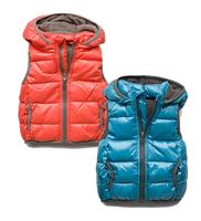 Boy Kids winter Korean sports vest coat baby boy spring hooded cotton waistcoat jacket Children vest outerwear red/blue 2-14yrs