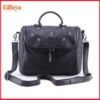 New 2015 Fashion Brand Women Messenger Bags Small Crossbody Woman Handbag Designer Patchwork Rivet Genuine Leather Tote
