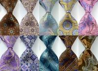 10pcs/lot Free shipping   New Classic Paisley Floral Purple Gray JACQUARD WOVEN Silk Men's Tie Necktie