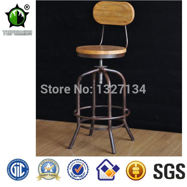 Cheap metal madeira reciclada Idustrial cadeiras de bar ajustável(China (Mainland))
