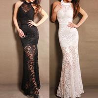 Free shipping 2014 fashion sexy lace halter dress the bride dress evening dress long sexy club women dress