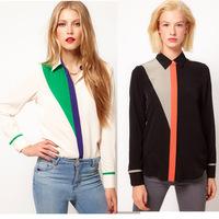 SZ054 2015 Fashion Women's spring summer retro thin splicing chiffon blouse long-sleeved  shirt Tops Blusas Femininas S&Z