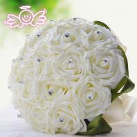 White Wedding Flowers Bridal Bouquets White Bouquet Simulation Roses Fflower Bride Bridal Wedding Bouquets Free Shipping