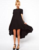 Sweet swallow-tail swing short-sleeved long red blue black dress 2014