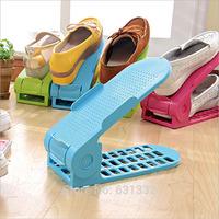 Free Shipping Multifunctional creative Double-deck shoe rack, Household plastic storage shoe rack finishing