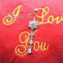 Beautiful Flower Belly Botton Rings Navel Piercing Jewelry G23 Titanium Barbell Zircon Beads