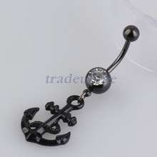 Free shipping Popular New Anchor Dangle Belly Button Ring Navel Ring Body Piercing Jewelry Black