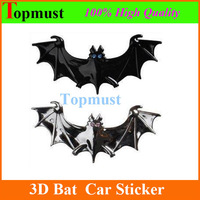 Alloy Metal 3D  car Chrome badges Bat decal Sticker Batman Style 3M Tape Paster Badge Emblem for Universal  Vehicle Decoration