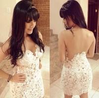 2014 Slim fit Design White Crochet Sexy Bandage Dress backless Prom Party Dress Vestidos Women Winter Dresses D08