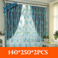Promotion!New 2014 Pastorale style readymade Rosa multiflora sheer redymade curtains for living room,1.4*2.5m,2pcs/lot