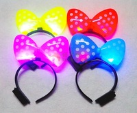 Free shipping Flash light emitting hairpin bow hair bands /  wholesale luminous toys,toys,glow in the dark party supplies