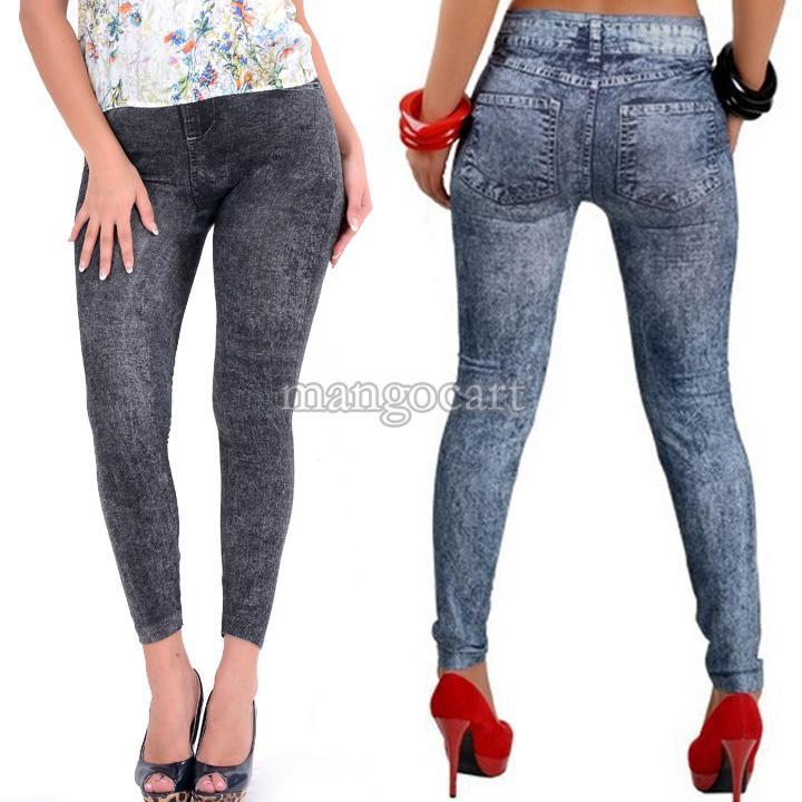 2014 New Stylish Lady's Gray Denim Like Faux Jean Pants Leggings Casual Leggings Denim Pencil Pants Free Shipping 51(China (Mainland))