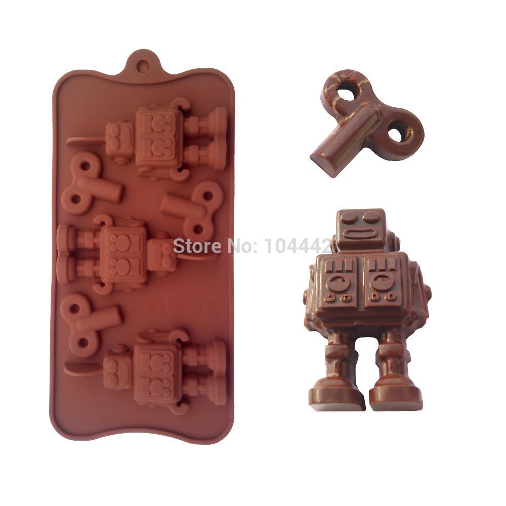 Niedlichen roboter form silikon schokolade backformen form für die Küche backen-tools