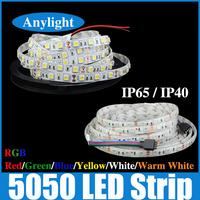 led strip 5050 Waterproof/Non-waterproof 5m RGB/White/Warm white/Red/Blue/Green DC12v SMD Flexible strips WLED05