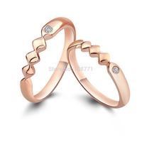 GNJ0569 1PC 925 Sterling Silver Wedding Rings Fine Fashion Couple Rings Rose Gold plated Finger Rings for Women&Men