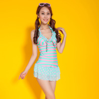 Free shipping 2014 new explosion models swimsuit ladies swimwear beach cute striped spot swimwear many color can be chose