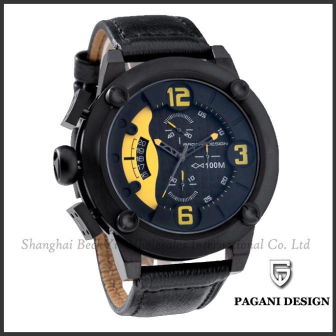 Pagani Design 2014 Fashion & Casual Men Leather Strap Sports Multifunction Watch +Box Relogio Masculino Clock cx-2633(China (Mainland))