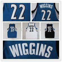 (3 Colors) Minnesota 22 Andrew Wiggins Basketball Jersey, Andrew Wiggins White Blue Black  REV 30 Basketball Jersey,SIze:S-XXL(China (Mainland))