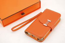 Luxury brand H clip flip wallet genuine leather phone case cover for iphone 5 5s 4 4s with card holder Retail box Free shipping(China (Mainland))