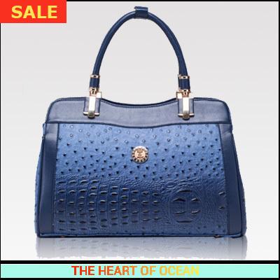 Luxury Handbag Pu Leather Women Messenger Bag Ostrich and Alligator Crystal Shoulder Bag OL Rivet Lady Bag B081(China (Mainland))