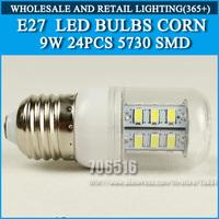 10PCS/lot High brightness led bulb lamp Lights Corn Bulb E27 9W 5730SMD 360 degrees Cold white/warm white AC220V 230V 240V