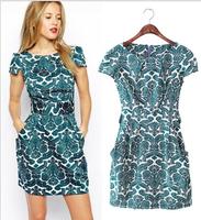 Women Summer Dresses 2014 Ladies' Vintage Geometric Pattern Print V neck Half Sleeve Casual Party Brand Designer One Piece Dress