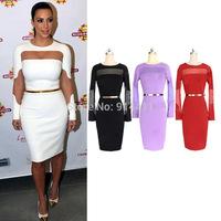 Sexy Hollow Out White Mesh Women Long Sleeves Celebrity Party Bandage Dresses Ladies Bodycon Midi Club Dress Plus Size S-XXL