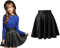 2014 Autumn Winter Woman PU Leather Skirt High Waist Pleated Black Mini Bud Skirts Artificial Leather Ball Gown Skirt For Woman