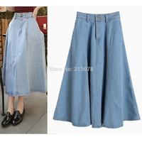 2014 Summer Autumn New Denim Light Blue Long 79cm High Waist Skater Jeans Midi Skirt Women saias femininas 2014 Hot Sale