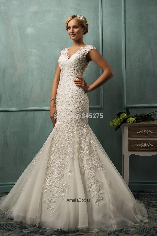 Designer Italy sereia vestido de noiva 2014 renda amelia-sposa cap sleeves fit and flare lace & tulle mermaid chapel train gown(China (Mainland))