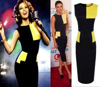 Summer 2014 Euro Fashion Black Yellow Patchwork O-neck Sleeveless Women Elegant Temperament Knee Length Bodycon Pencil Dress