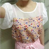 (Factory Price) 2014 Summer Fashion New Ruffles Cute Print Patchwork  Work Casual Chiffon Women's Blouse Shirt PY06