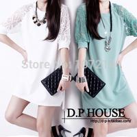 Blue,Black,White S,M,L,XL,XXL,3XL,4XL,5XL! 2014 New summer big plus size lady clothes lace embroidery flower chiffon dress women