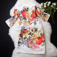 2014 Autumn Retro Style Jacquard Floral Print 3/4 Sleeve Jacket+Flower Print Pencil Skirt Suits