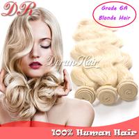 "blonde brazilian hair,virgin hair weave hair bundles body wave hair weft 3pcs/lot 14""-26"" Grade 6A human hair extension 100g/pc"