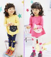 Free Shipping 2014 Korean version of the new children's clothing girls Spring Autumn cute Cats t-shirt + Leggings Set