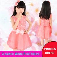 Kids girls summer dress 2014 new Korean baby princess dress children tutu yarn dress pink white color 110-160CM