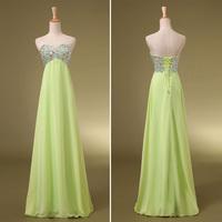 In Stock A Line Sweetheart Strapless Long Length Crystal Beaded Prom Dresses Women Real Elegant Maternity Evening Dresses 2014
