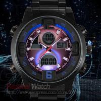 READEEL 50M Waterproof Outdoor Steel Men Military Sports Watches Binary LED Digital Watch Quartz Analog Watch Wristwatch for Men