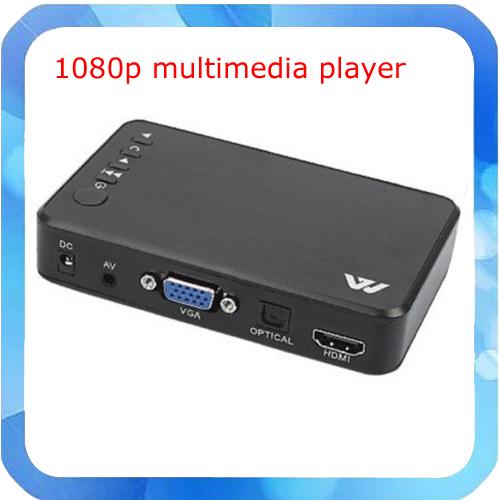 2014 New Portable Full 1080P HD Multi Media Player 3 outputs HDMI/VGA/AV, USB & SD card(China (Mainland))