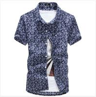 Spring Summer 2014Men Shirt Casual Slim Floral Shirts Mens Beach Men's Colorful Cotton Short Sleeve Hawaiian Shirt AX22 M-2XL