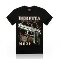 Free Shipping fashion tops summer 3D gun print men T-shirts,o-neck t shirts men tees men's t shirt cotton men's T shirts,KT054
