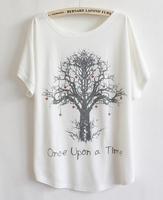 New 2014 T-shirt Summer Women Love Tree Printing Cotton T-shirt Loose Short Sleeve Casual T-shirt b7 SV005036