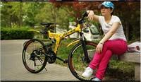 BEHEE  bike 21 speed dual disc brakes mountain bike  26 inch folding bike Traveller overall wheel Russia Free Shipping