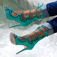 REAL PHOTO!Factory Price Butterfly Cut-Outs Lace-Up Sandals Design Ankle Booty Cage Shoes 4 Colors