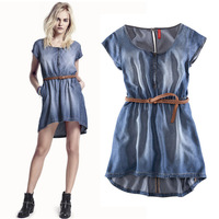 summer denim dress one-piece dress elastic waist denim dresses