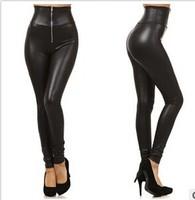 2014 New Leather leggings skinny fitness zipper high waist imitation leather leggings Sexy thin trousers leg black pants YS8093
