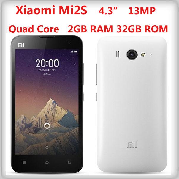 "Original Xiaomi Mi2S M2S Qualcomm Snapdragon600 Miui V5 Quad Core Mobile Phone 2GB RAM 16/32GB ROM 4.3"" IPS 1280*720 8MP/13MP(China (Mainland))"